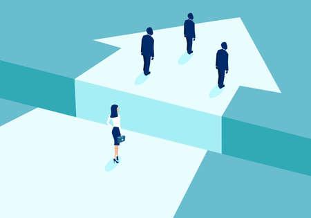 Geschlechterdiskriminierung im Unternehmenskulturkonzept. Vektor der Geschäftsfrau, die hinter den Geschäftsleuten zurückbleibt und durch Lücke geteilt wird.