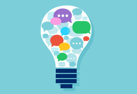 Vector of a light bulb with multiple speech bubbles inside. Successful communication concept. Çizim