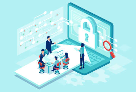 Cyber security concept. Isometric vector of a team working designing new software to protect personal data Çizim