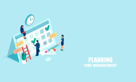 Planning schedule concept. Vector web banner of businesspeople busy with time management and planning. Isometric illustration isolated onlight blue background Ilustrace
