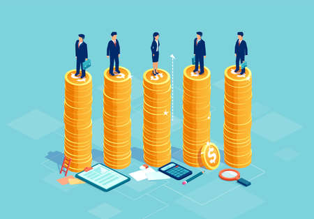 Gleichstellung der Geschlechter und Chancengleichheit im Unternehmenskonzept. Vektor mit Geschäftsleuten und Geschäftsfrau auf demselben Haufen Geld.