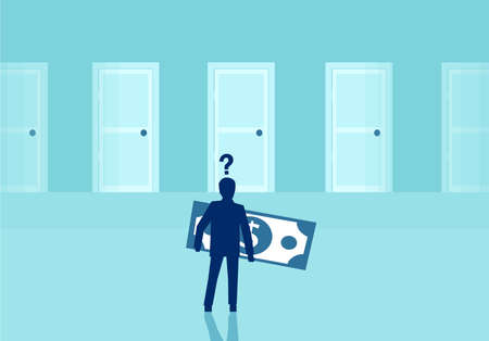 Vector of a businessman with dollar banknote thinking on financial investment opportunities standing in front of multiple doors