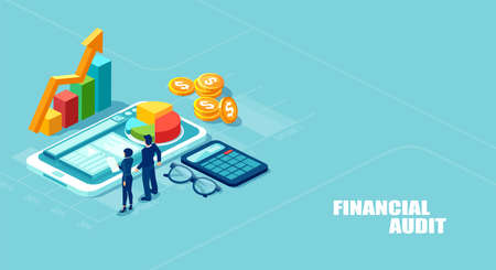Financial audit concept. Isometric vector illustration of businesspeople analyzing corporate fianncial report and profits isolated on blue background Çizim