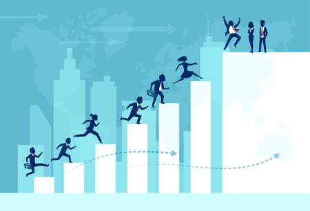 Vector of businesspeople teamwork working together climbing ladder of success building an international business.