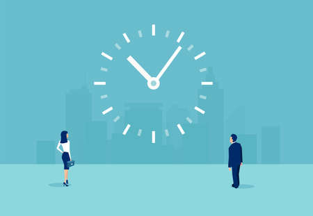 Time management and efficiency concept. Vector of a businessman and a businesswoman looking at a clock on the wall Ilustrace
