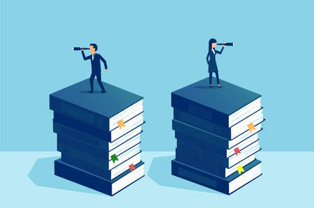Power of education and independent opinion concept. Businessman and businesswoman standing on pile of books looking at future in opposite direction