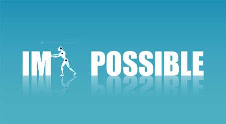 Concept de progrès technologique. Vecteur d'un robot changeant de mot impossible à possible
