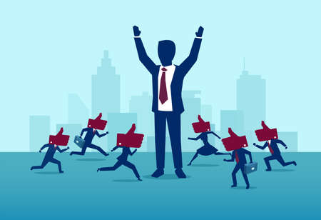 Influencer marketing and leadership concept. Vector of a powerful, successful buisnessman being liked by busy crowd of people Ilustrace