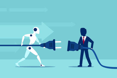 Business optimization using automation concept. Vector of a businessman cooperation with a robot Çizim