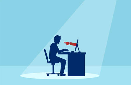 Vector of a business man working on computer with red hand finger pointing at him Çizim