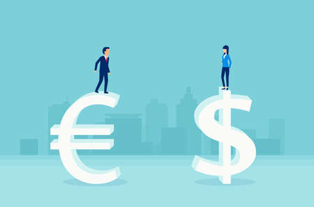 Currency exchnage concept. Vector of businessman standing on euro symbol and businesswoman on dollar sign