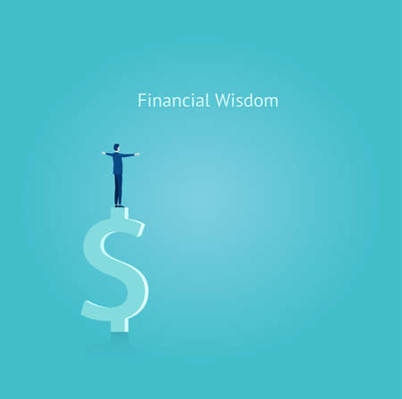 Financial wisdom concept. Vector of a businessman balancing on top of the dollar symbol