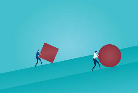 Vector of a smart business man pushing a sphere uphill leading the race against a slower businessman pushing a box. Winning strategy concept