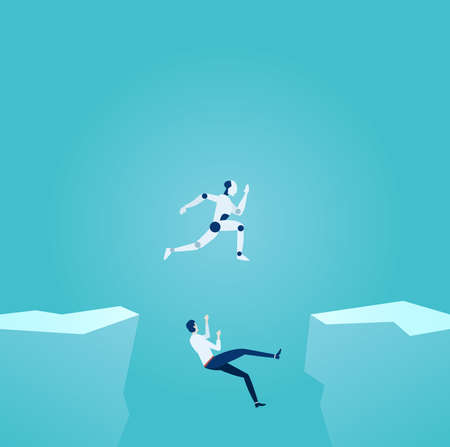 Artificial intelligence and modern technology advantage concept. Vector of a robot jumping over gap overcoming challenges and businessman falling down of the cliff