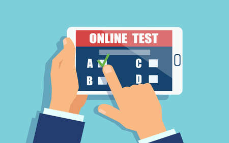 Vector of a man holding a tablet in hands, taking part in online survey. Quiz on mobile device concept.