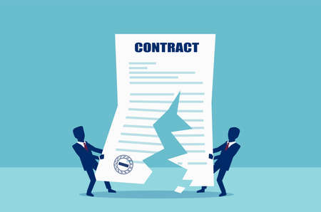 Contract cancellation concept. Vector of two business men tearing in half contract agreement.