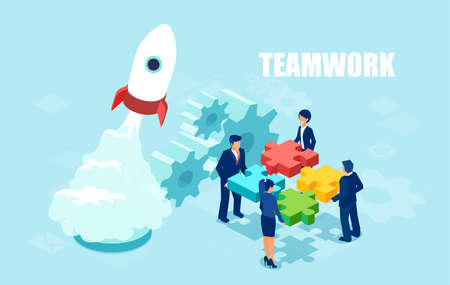 Vector of business people holding puzzle pieces. Teamwork in startup launch concept banner. Ilustrace