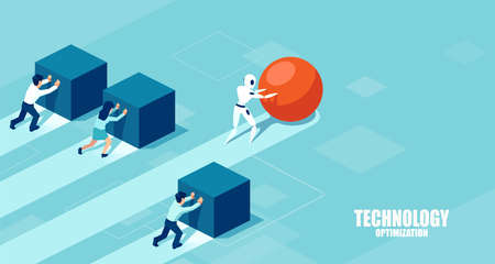 Vector of a robot pushing a sphere leading the race against a group of slower businesspeople pushing boxes. Technology optimization in business concept