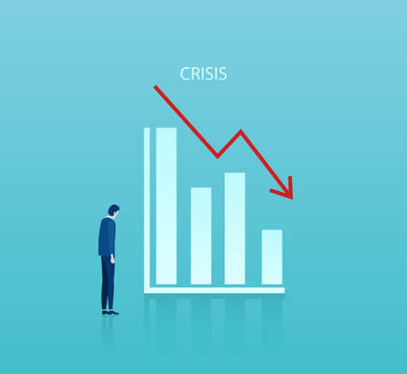 Vector of a sad businessman looking at a graph falling down. Negative trend, bankruptcy, financial crisis concept. Illustration