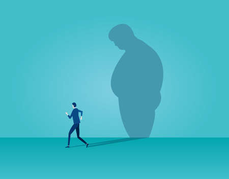 Vector of a man running away from his fat sad shadow on the wall. Body weight control lifestyle modifications concept