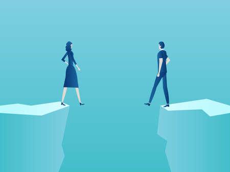 Huwelijk, relatieproblemen concept. Vector van een paar man en vrouw die aan de rand van de afgrond staan Vector Illustratie