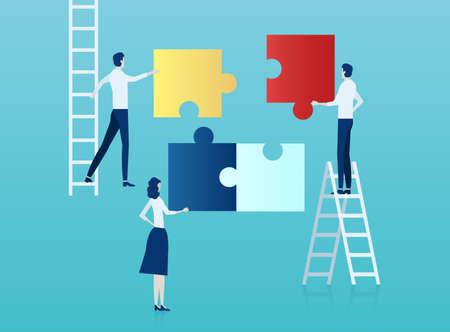 Teamwork-Konzept. Vektor von Geschäftsleuten, die ein Puzzle zusammenbauen. Vektorgrafik