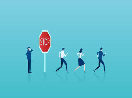 Business risk concept. Vector of a businessman thinking of potential risks at warning stop sign while crowd of businesspeople running forward