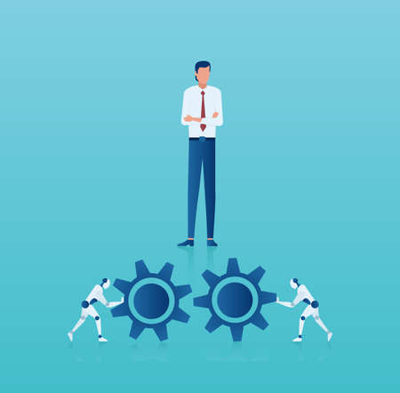 Vector of a businessman managing new technology process implementation in corporate business