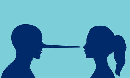 Lies in a relationship concept. Vector of a woman looking at a lying man with a long nose. Illustration