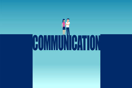 Vector of a young couple solving all misunderstandings standing on a communication bridge