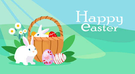 Vector of a colorful easter card with bunny, basket with eggs on a meadow blue sky background