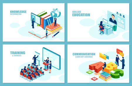 Distant education, training, language courses concept. Modern vector for website development. Set of web page templates