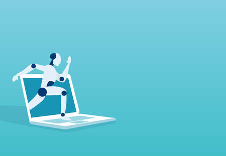 Breakthrough. Vector of a robot breaking surface of a laptop monitor. Illustration