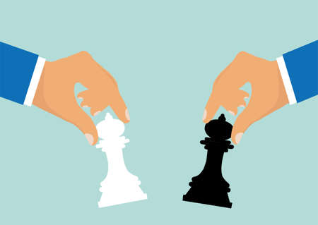 Concept of business strategy and competition. Vector of businessmen moving chess pieces as a symbol of rivalry corporate negotiation.