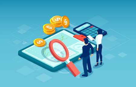 Web banner for financial data analysis and statistics concept. Vector of business people researching for new profitable investment opportunities.  Illustration