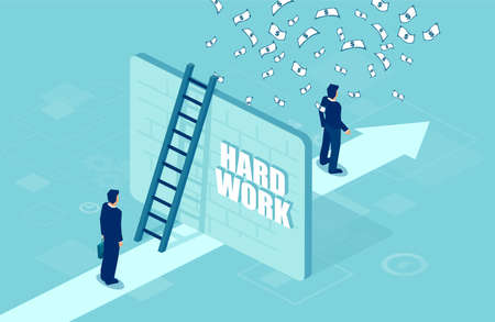 Hard work and financial reward concept. Vector of a business man separated by a wall from a successful entrepreneur under money rain  Illustration
