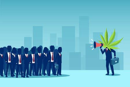 Manifestación por la legalización de la marihuana. Vector de un hombre de negocios con hojas de cannabis en lugar de cabeza gritando en un megáfono a una multitud de personas Ilustración de vector