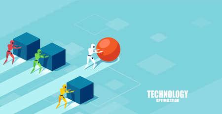 Vektor eines intelligenten modernen Roboters, der eine Kugel schiebt, die das Rennen gegen eine Gruppe langsamerer Roboter anführt, die Kisten schieben. Erfolgsstrategie im Technologieentwicklungskonzept