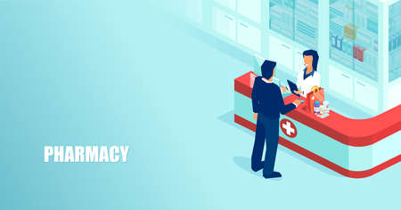 Vector of a doctor pharmacist selling prescription drugs to a patient in drugstore Illustration