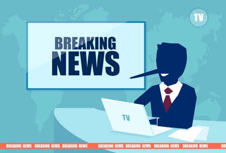 Concetto di notizie false e dell'ultima ora. Vettore di un presentatore con un lungo naso bugiardo che riporta informazioni false sui media in televisione Vettoriali