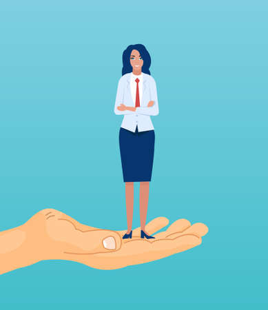 Helping in career growth concept. Vector of a confident ethnic businesswoman standing on the hand reaching for the goal.