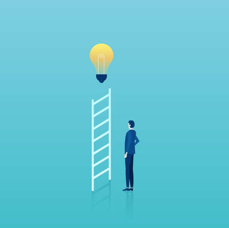Business career growth ideas concept. Vector of a businessman standing by ladder with bright light bulb on top. Çizim