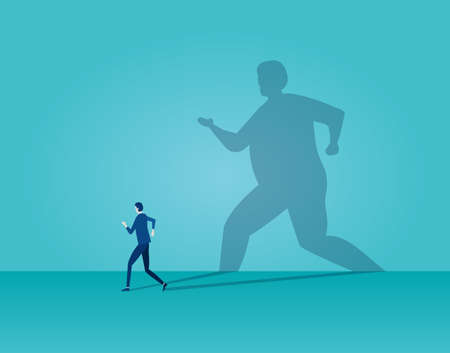 Vector of a business man running away being frightened by his own shadow on blue background
