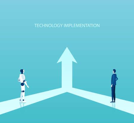 Concepto de implementación y crecimiento de nuevas tecnologías empresariales. Vector de un hombre de negocios que trabaja junto con un robot para un objetivo común. Ilustración de vector