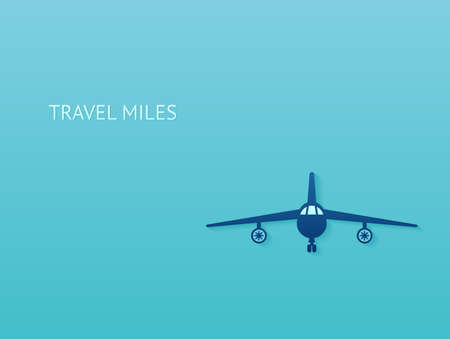 Air traveling and rewards program concept. Vector silhouette of a plane on blue background