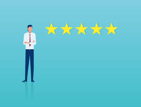 Excellent customer service concept. Vector of a confident businesman receiving a five star customer review