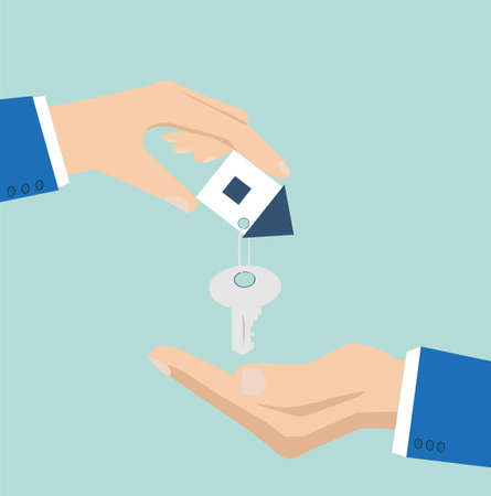 Vector of a house key with small house key ring given from one hand to another on a light blue background