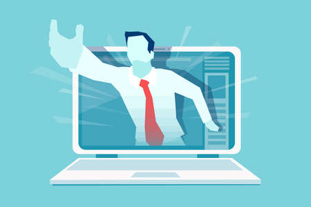 Vector of a businessman hand reaching out of the screen offering a help. Online customer service assistance concept