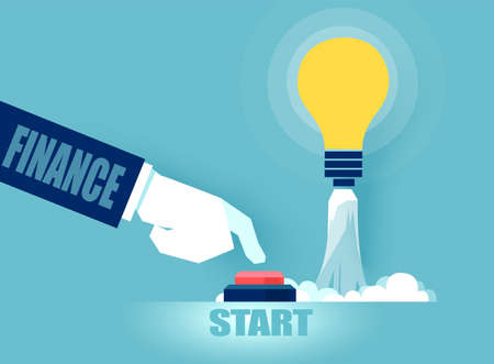 Vector of a business man investing money in bright idea pushing the start up button.