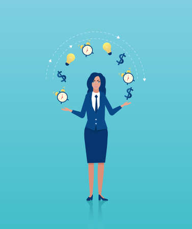 Vector of a business woman juggling dollar, alarm clock and light bulb icons. Concept of efficient time management